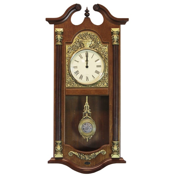 Large Traditional Gold/Brown Solid Wood Pendulum Wall Clock