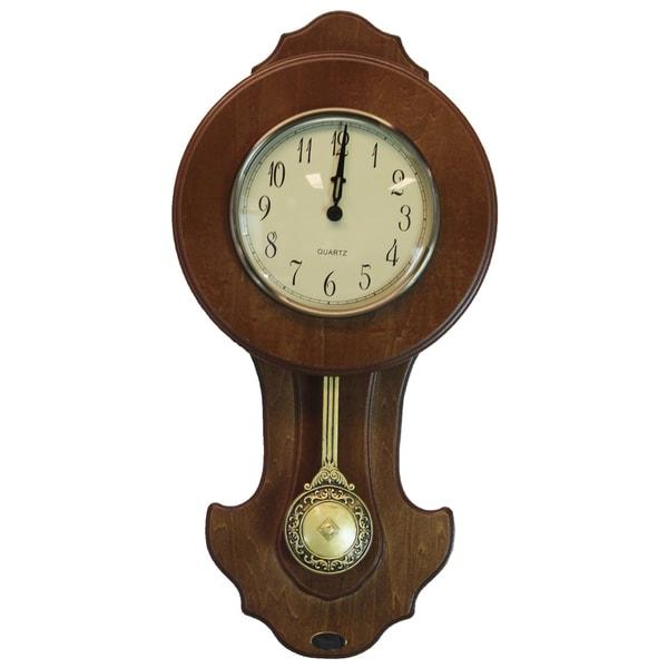 Walnut Finish Solid Wood Transitional Pendulum Wall Clock