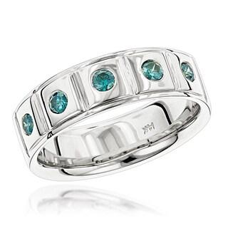 Luxurman 14K Gold 5 Blue 1/3ct TDW Diamond Wedding Band Comfort Fit Five Stone Ring (Blue; SI1-SI2)