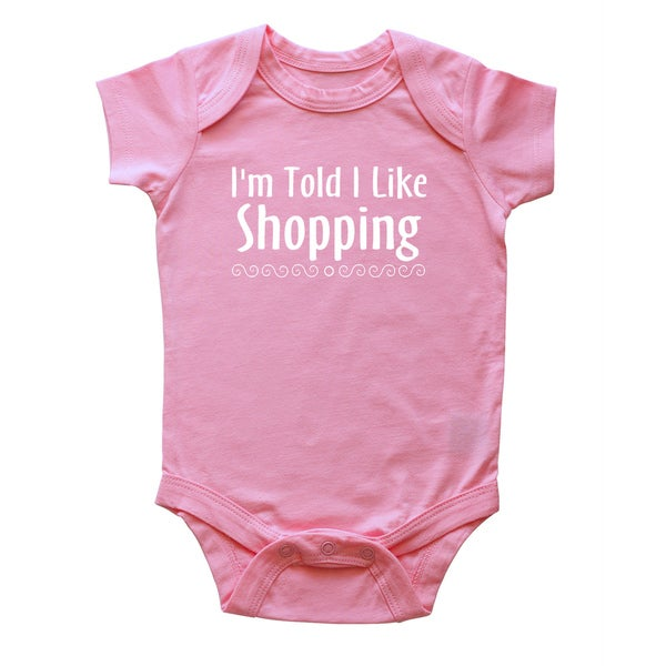 Rocket Bug 'I'm Told I Like Shopping' Cotton Baby Bodysuit