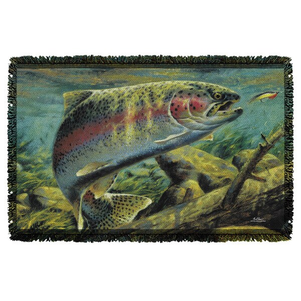 Wild Wings/Rainbow Trout 2 Graphic Woven Throw 19675648