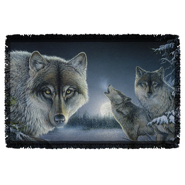 Wild Wings/Midnight Wolves 2 Graphic Woven Throw 19675771