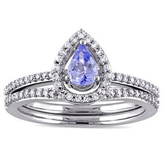 Miadora 14k White Gold Tazanite and 1/3ct TDW Diamond Bridal Set (G-H, I1-I2)
