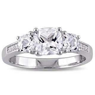 Miadora 10k White Gold Created White Sapphire and Diamond Accent 3-Stone Engagement Ring (G-H, I1-I2)