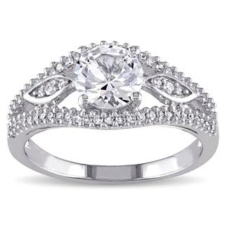 Miadora 10k White Gold 1/4ct TDW Diamond and Created White Sapphire Beaded Split Shank Engagement Ring (G-H, I2-I3)