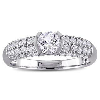 Miadora 10k White Gold Created White Sapphire and 1/2ct TDW Diamond Engagement Ring (G-H, I2-I3)
