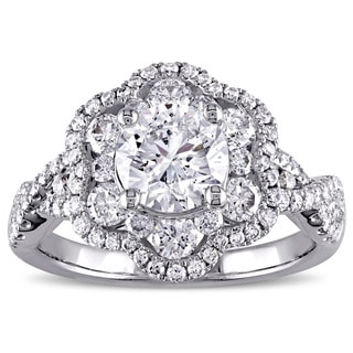 Miadora Signature Collection 14k White Gold 1 7/8ct TDW Diamond Flower Engagement Ring (E-F, I1-I2)