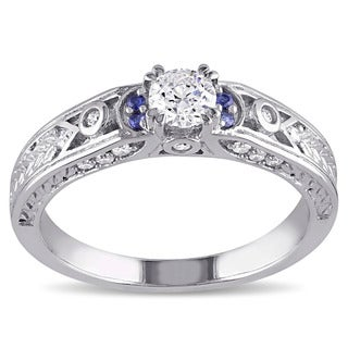 Miadora Signature Collection 10k White Gold 1/2 ct TDW Diamond and Sapphire Engagement Ring (G-H, I2-I3)
