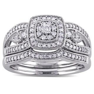 Miadora 10k White Gold 3/8ct TDW Diamond Vintage Halo 2-Piece Bridal Ring Set (G-H, I2-I3)