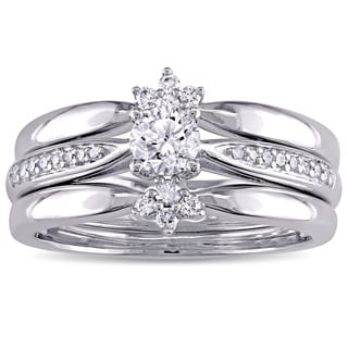 Miadora Signature Collection 14k White Gold 1/2ct TDW Diamond 3-Piece Bridal Ring Set (G-H, I1-I2)