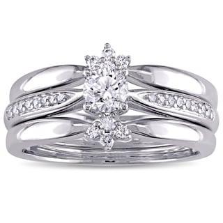 Miadora Signature Collection 14k White Gold 1/2ct TDW Diamond 3-Piece Bridal Ring Set (G-H, I1-I2)