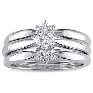 Miadora Signature Collection 14k White Gold 2/5ct TDW Diamond 3-Piece Bridal Ring Set (G-H, I1-I2)