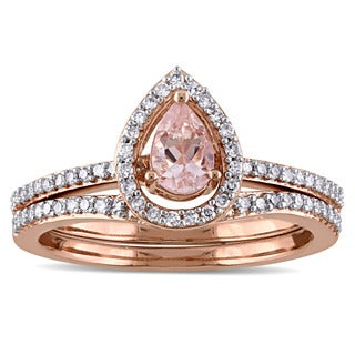 Miadora 14k Rose Gold 1/3ct TDW Diamond and Morganite Halo 2-Piece Bridal Ring Set (G-H, I1-I2)