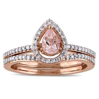 Miadora 14k Rose Gold 1/3ct TDW Diamond and Morganite Halo 2-Piece Bridal Ring Set (G-H, I1-I2)