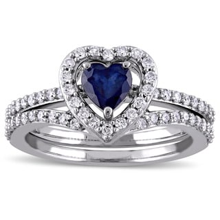 Miadora Signature Collection 10k White Gold Diffused Sapphire and 1/2ct TDW Diamond 2-Piece Bridal Ring Set (G-H, I2-I3)