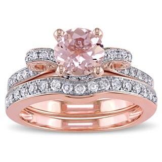 Miadora Signature Collection 14k Rose Gold Morganite and 1/2ct TDW Diamond 2-Piece Bridal Ring Set (G-H, I1-I2)
