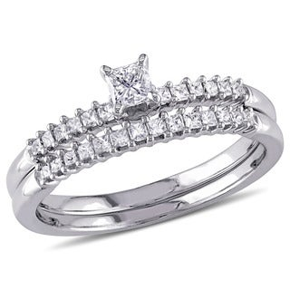 Miadora 14k White Gold 1/2ct TDW Princess Cut Diamond 2-Piece Bridal Ring Set (I-J, I1-I2)