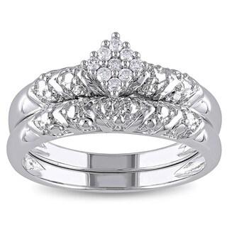Miadora 10k White Gold 1/10ct TDW Diamond 2-Piece Bridal Set (G-H, I2-I3)