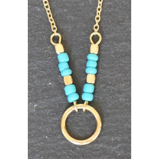 Mint Jules Dainty Turquoise Bead Karma Ring Circle 18-Inch Layering Necklace