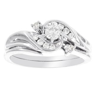 H Star 10k White Gold 1/4ct TDW Diamond Swirl Bridal Set (I-J, I2-I3)