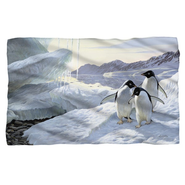 Wild Wings/Penguins 2 Fleece Blanket in White