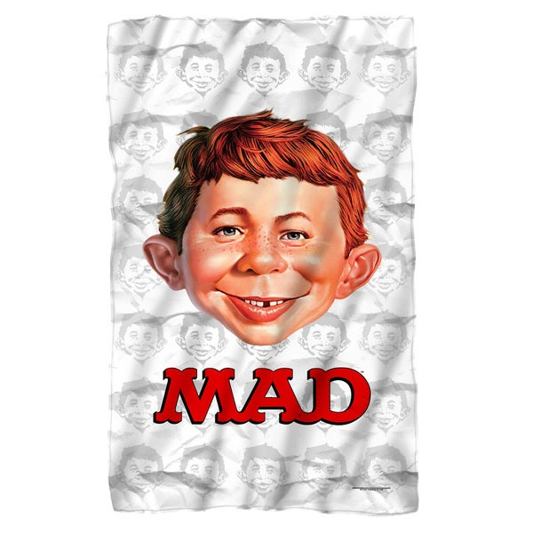 Mad/Alfred Head Fleece Blanket in White