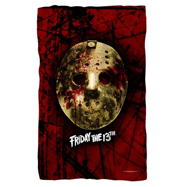 Friday The 13Th/Bloody Mask Fleece Blanket in White