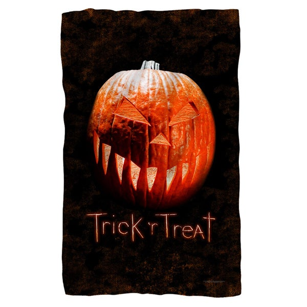 Trick R Treat/Pumpkin Fleece Blanket in White