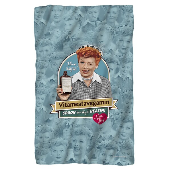 I Love Lucy/Vitameatavegamin Fleece Blanket in White 19682545