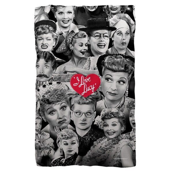 I Love Lucy/Faces Fleece Blanket in White 19682547