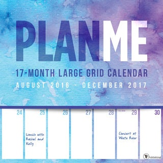 2017 PlanMe Big Grid 17-month Wall Calendar