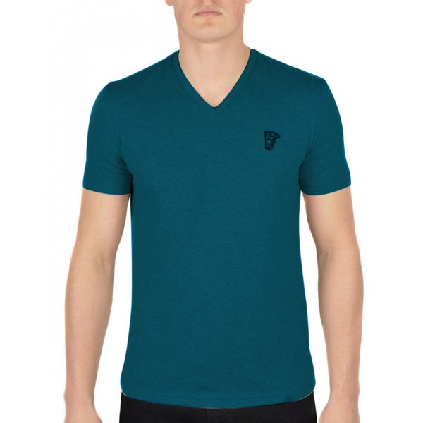Versace Collection Teal Blue V-neck T-shirt