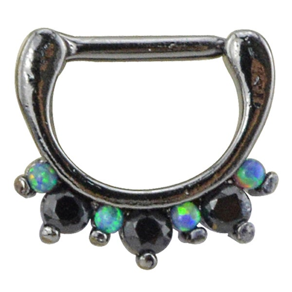 Supreme Jewelry Black Anodized Metal, Opal, and Gemstones Septum Clicker