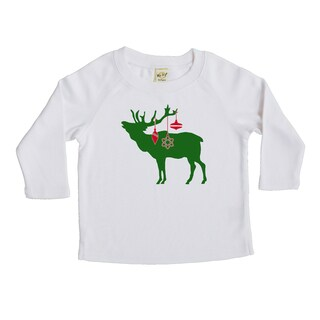 Rocket Bug Festive Elk Christmas Cotton Long Sleeve Shirt