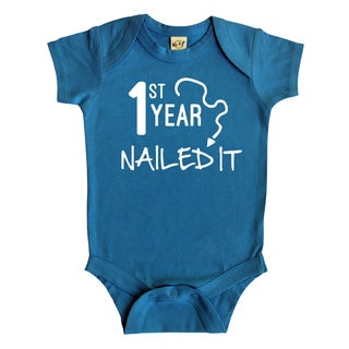 Rocket Bug 'First Year Nailed It' Cotton Baby Bodysuit
