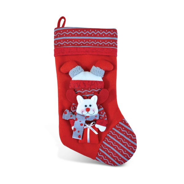Posh Reindeer Red Christmas Stocking