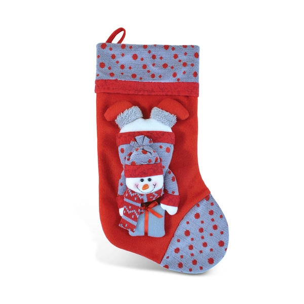 Posh Red Snowman Christmas Stocking