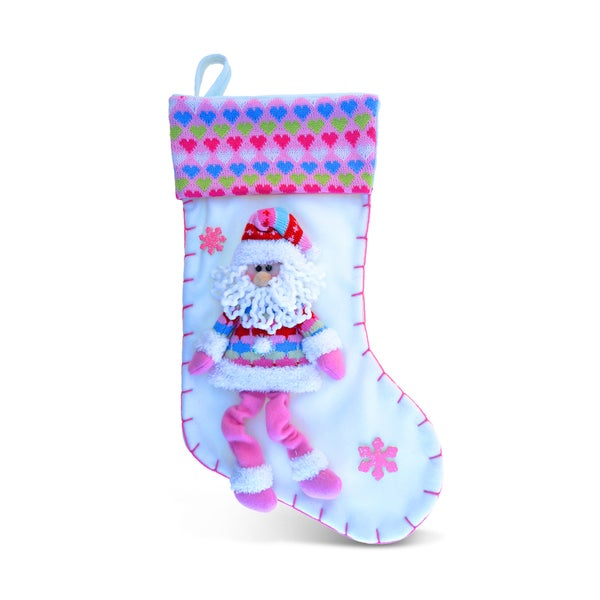 Pink Love Santa Stocking
