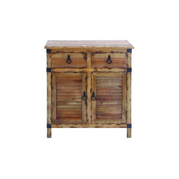 Distressed Louvered Wood Cabinet