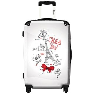 iKase 'Oh La La Paris White' 24-inch Fashion Hardside Spinner Suitcase