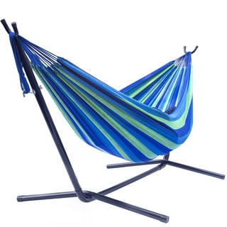 Sorbus Tropical Cotton Double Hammock with Space-saving Steel Stand