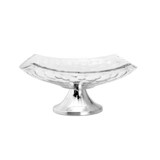 Glass and Stainless Steel Fruit Bowl With Stand