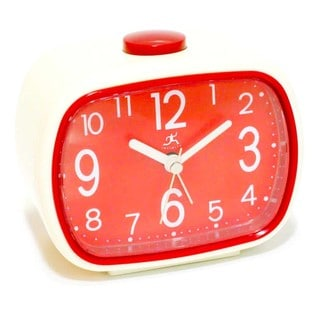 Infinity Instruments Red and Cream 3.75-inch Retro Alarm Tabletop Clock
