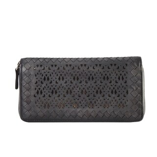 Diophy Luxury Distressed Vintage Genuine Leather Sequins Woven Wallet 8167