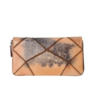 Diophy 8224 Graffiti Crack Design Distressed Genuine Leather Wallet