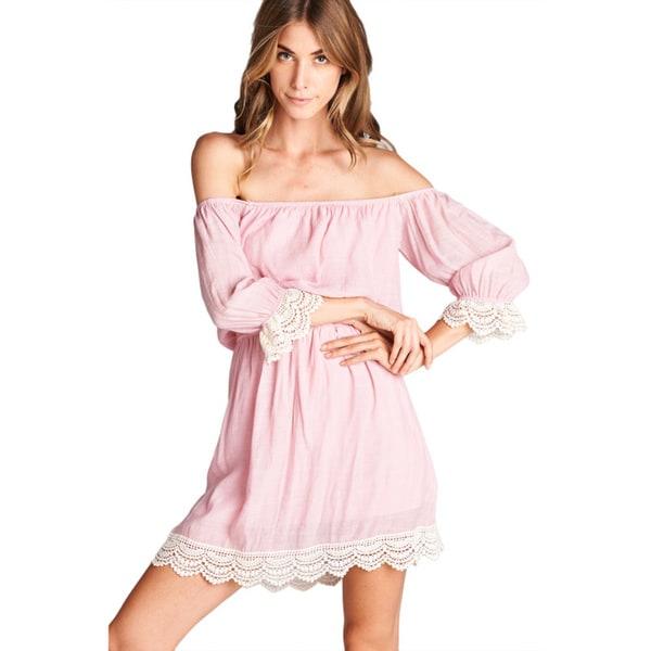 Orange Creek Odd Shoulder Lace Cuff Dress