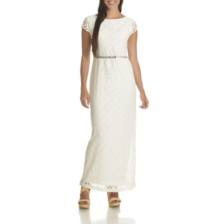 Sharagano Women's Ivory Lace Floral Belted Maxi Dress