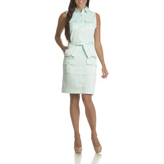 Sharagano Women's Solid-colored Cotton-blended Sleeveless Belted Shirt Dress