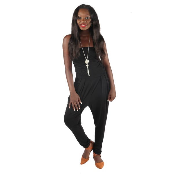 Hadari Womans Slimfit Black Straight Across Neckline Pegged Bottom Jumpsuit With Side Front Pockets