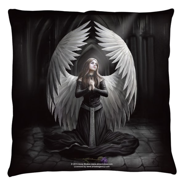 Anne Stokes/Prayer For The Fallen White Throw Pillow